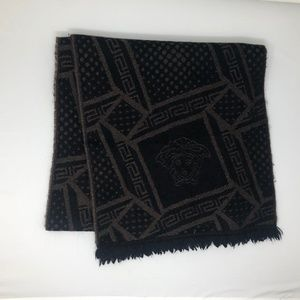 Auth Black and Brown Versace Scarf